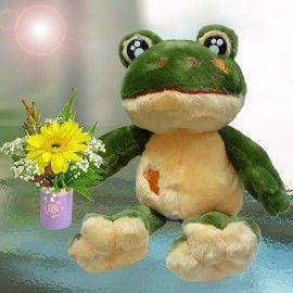 Frog with Yellow Gerbera