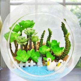 Artificial Cactus Mini Terrarium In Glass Bowl