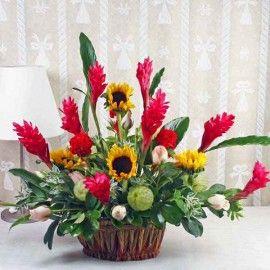 Ginger Flowers & Sunflowers Table Basket Arrangement