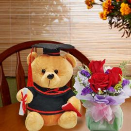 18cm Graduation Teddy Bear with 3 Red Rose Standing Bouquet