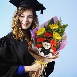 "6"" Graduation Bear with 3 Sunflowers Hand Bouquet"