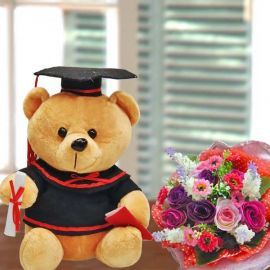 20cm Graduation Bear & Artificial Roses Bouquet