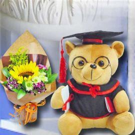 30cm Graduation Teddy Bear With Sunflower Hand Bouquet