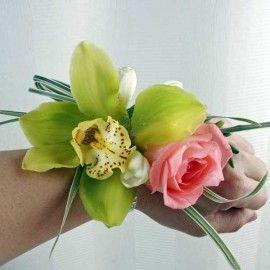 Green Cymbidium Orchid Wedding Wristlets