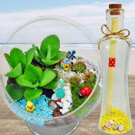Message-in-Bottle & Mini 15cm Terrarium Bowl