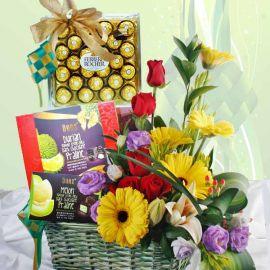 Fresh Flowers & Chocolates Gift Basket