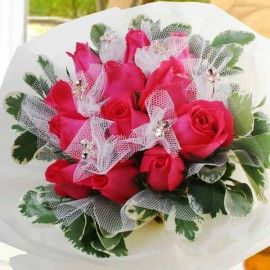 Hot Pink Roses With Crystal Butterfly Rings Bouquet
