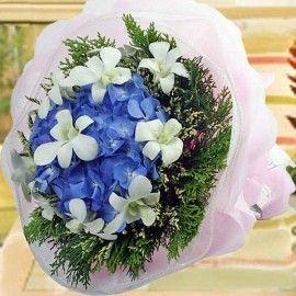 Hydrangeas W/Orchid Bouquet (Need 2 Days Avance Order)