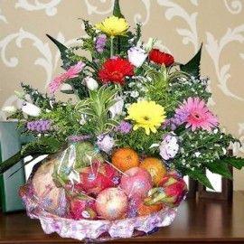 Mixed Gerbera & Fruits Basket Arrangement