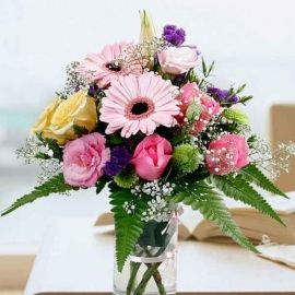 Mixed Gerbera & Roses In Glass Vase All-Round Small Table Arrang