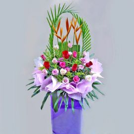 Mixed Roses on Purple Box Stand (6 Feet in height)