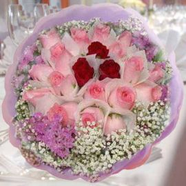 3 Red 21 Peach Roses Handbouquet