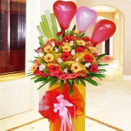 10 Roses & 20 Gerberas Opening Flowers Stand