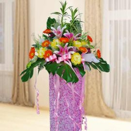 Artificial Peony & Fresh Pink Lilies Opening Stand