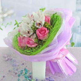 Cymbidium orchids & Roses Small Posy