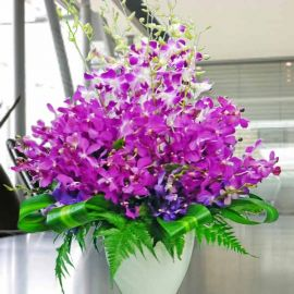 Fresh Cut Orchids All Round Table Arrangement in Vase