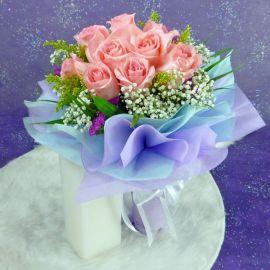 10 peach roses handbouquet