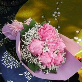 Peony Flowers With Baby Breath Hand Bouquet Delivery