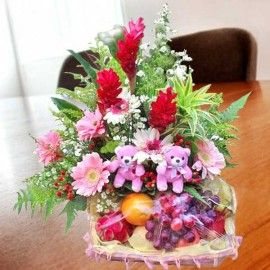Pink Gerberas With Fruits & 2 Small Bears