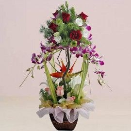 Purple orchids topiary flowers arrangement