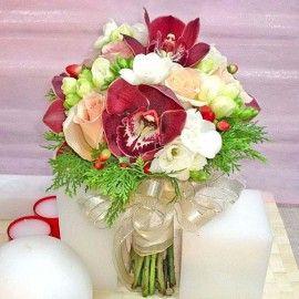 Red Cymbidium Orchid & Freesia Bouquet