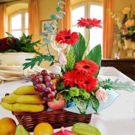Roses & Gerbera Flowers With Assorted Fruits Basket