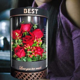 6 Red Roses Arranged In Cylinder Gift Box