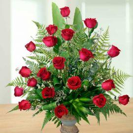 20 Red Roses Arrangement in ceramic Vase