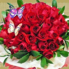 Butterfly in 50 Red Roses Hand Bouquet