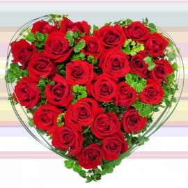 25 Red Roses Arrangement in Heart-Shape