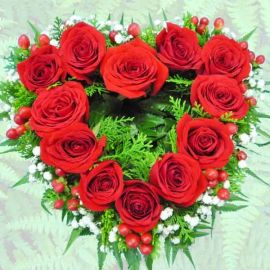 Red Roses arranged in heart shape