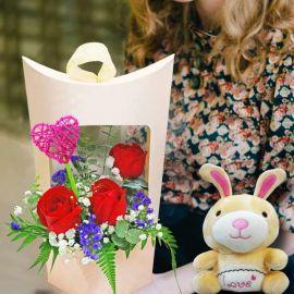 16cm Couple Bunny & 3 Mixed Gerbera Standing Bouquet
