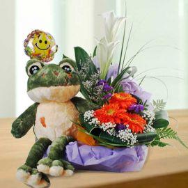 43cm Frog Plush Toy with Flowers Arrangement
