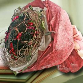 12 Black Yam Roses & Fine Tigs Hand Bouquet