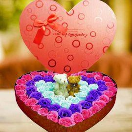 Soap Roses & 2 Mini Bear In Heart-Shape Box