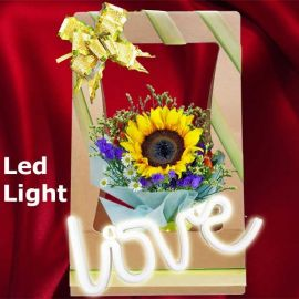 Led LOVE Light With SunFlower Hand Carry Bouquet