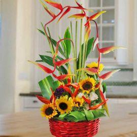 Sunflower & Heliconia Basket Arrangement
