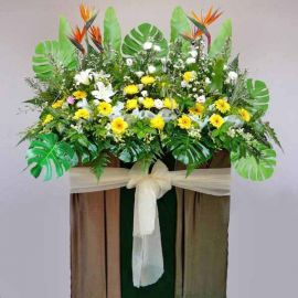 Bird of paradize with lily, yellow chrysanthemum and Gerbera 6 f