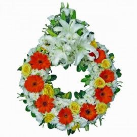 Yellow Roses & Lilies Wreath 50cm in Diameter (without stand)