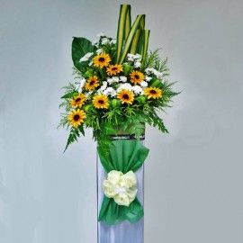 Artificial Sun Flowers & Fresh White Pompom in Box Stand for Ope