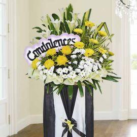White Lilies & Chrysanthemum Sympathy Flower Stand