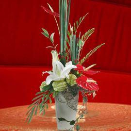 White Lilies & Anthurium Table Arrangement.