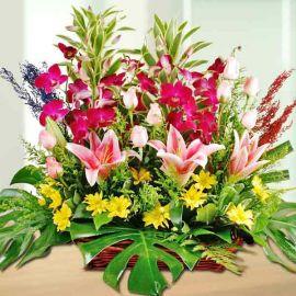 Pink Lilies, Roses & Orchids Basket Arrangement