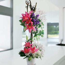 Pink Lilies Table Arrangement