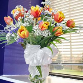 10 two-tone yellow/red Tulips with vase
