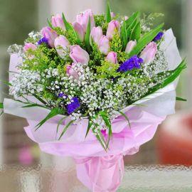 20 Pink Tulips Handbouquet