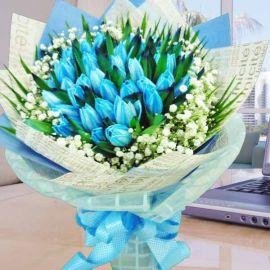 38 Blue Tulips Hand Bouquet