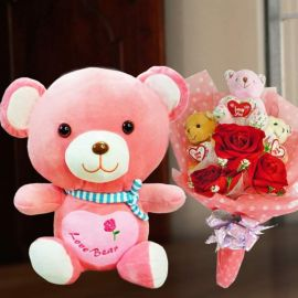 3 Mini Bears & Artificial Red Rose Bouquet With 30cm Love Bear