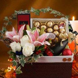 VSOP Rocher Christmas Flower Gift Basket