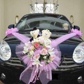 Artificial Flowers With Wedding Bear Car Decoration